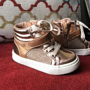 Toddler girls Rose Gold and Gold Sneakers